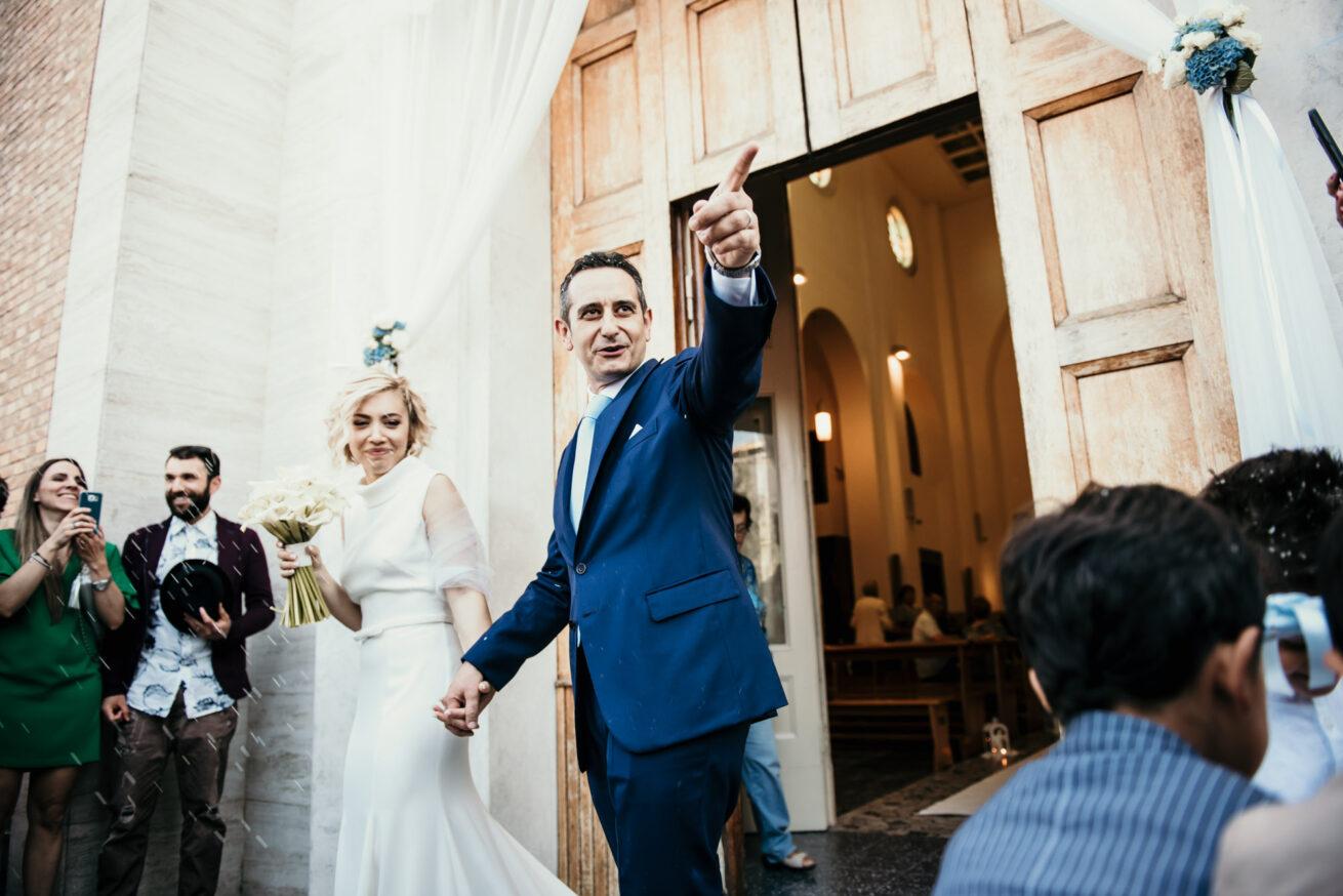 Matrimonio a Rimini, lancio del riso, Parrocchia San Gaudenzio
